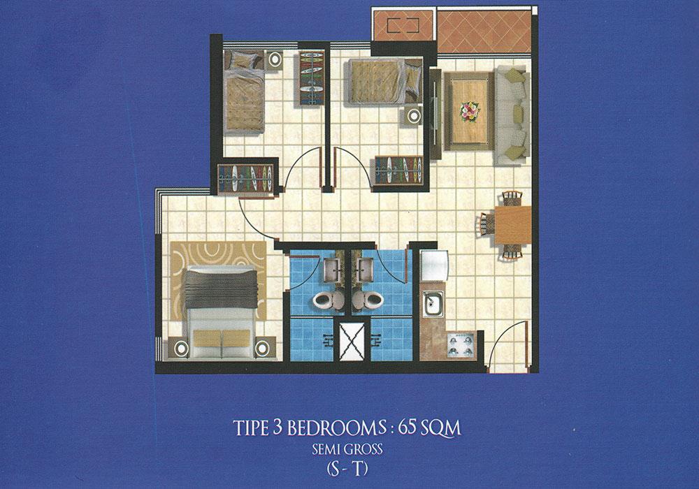 The Suite Espiritu 3 Bedroom Floor Plan